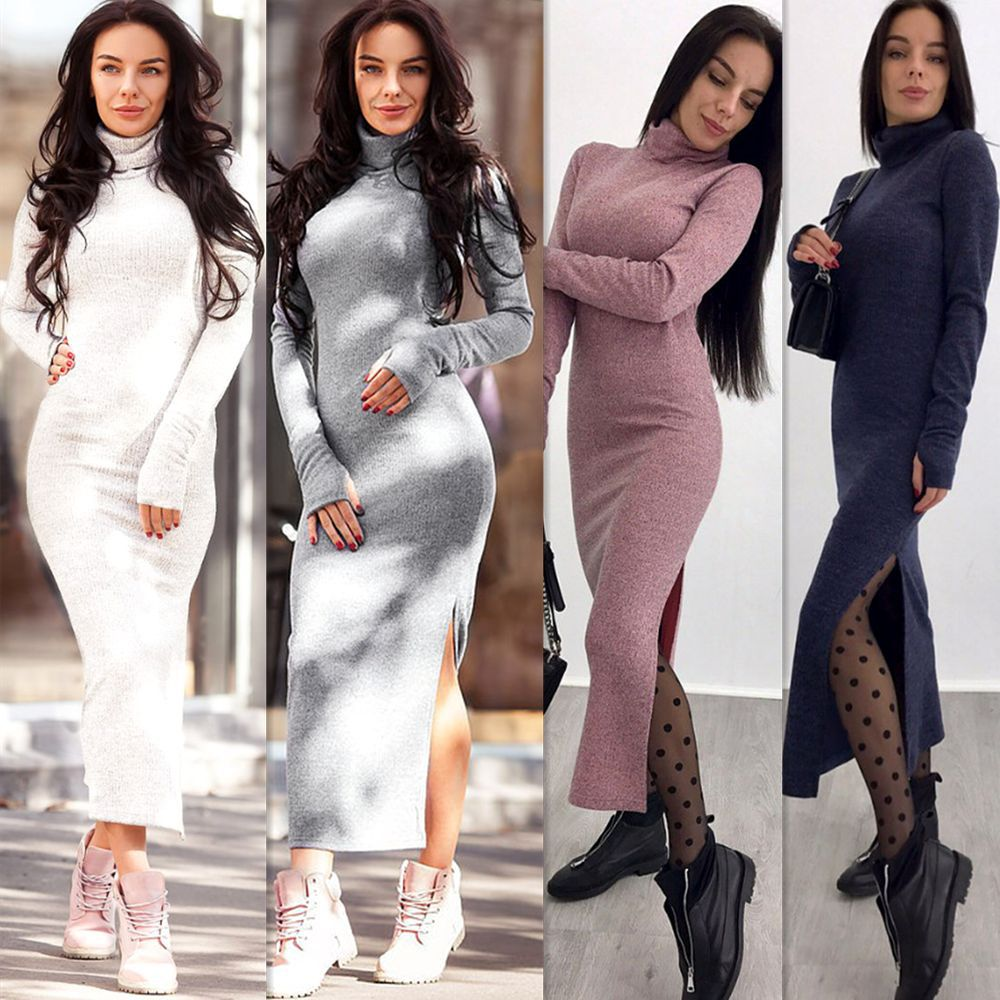 Wanita Lengan Panjang Leher Tinggi Rajutan Kaos Splicing Dress Rajutan Knit Wanita Musim Dingin Turtleneck Sweater Maxi Gaun Kasual