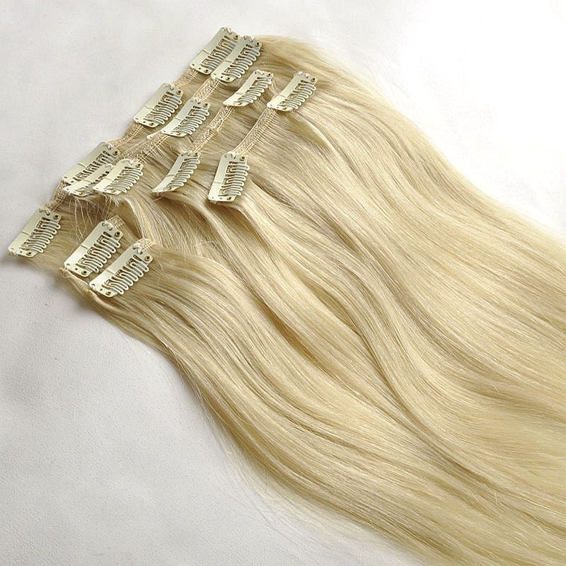 Clip On Remy Hair Extensions 220gram Thick Human Hair Blonde Clip In