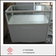 White glass and aluminium frame standing reception desk for exhibition and display use