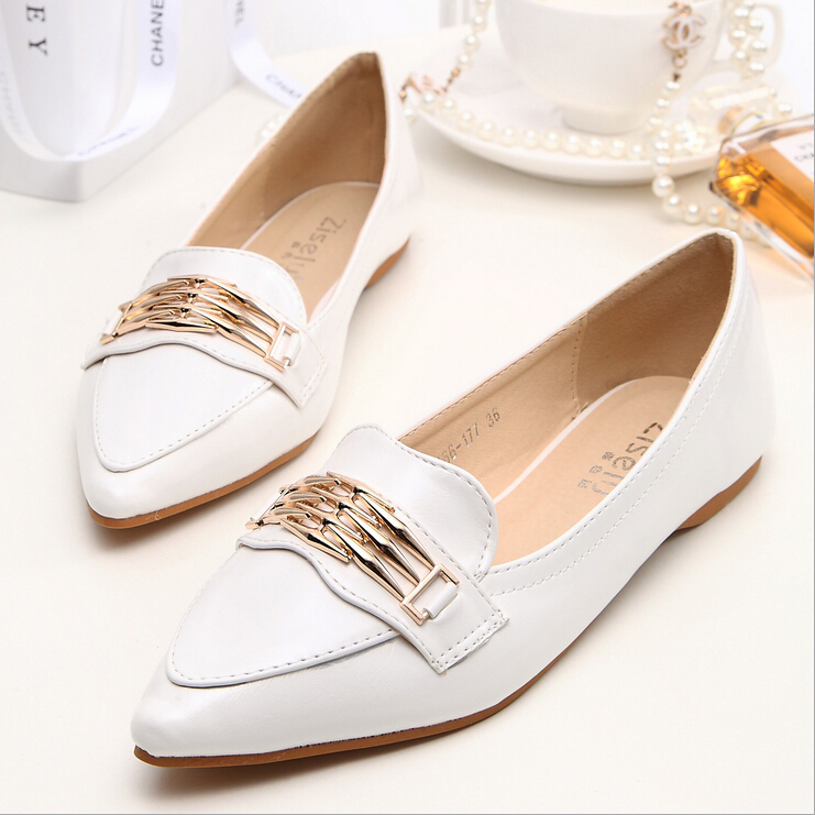 eb4092e08876 Get Quotations · 2015 spring and autumn new women shoes classic flat shoes  pointed head metal decoration fashion moccasins
