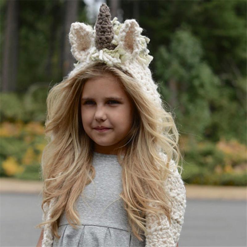 Children Animal Shape Hat Scarf Unicorn Knitted Wool Cap Winter Hat ... 6b12c190cae