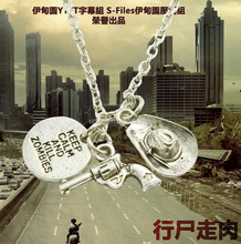 The walking dead Rick's Gun & Hat Necklace three pendants keep clam and kill zombies fashion moive jewelry 837