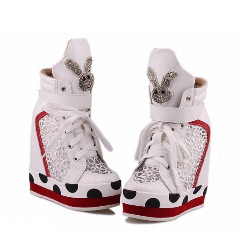 2ed05faa488 Buy 2015 Women High heel sneakers Platform Shoes Wedge Sneakers Sport For  Woman Height increasing Rhinestone Top White Ladies Shoes in Cheap Price on  ...