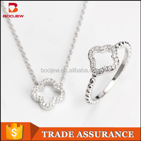 Alibaba new model four leaf clover AAA cubic zirconia real 925 sterling sliver jewelry set for women
