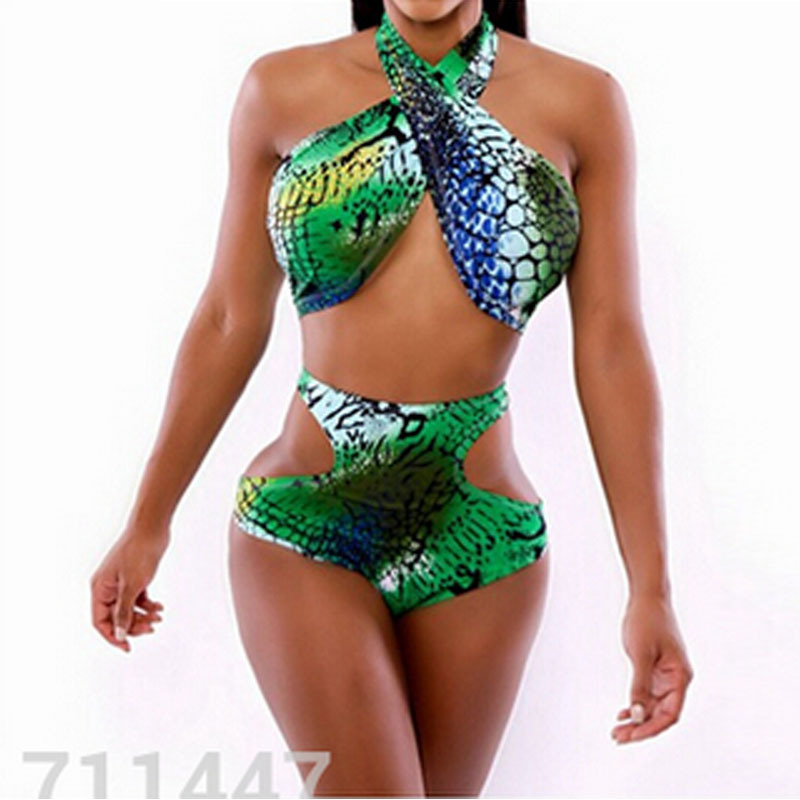 a1d625ba99b6 Get Quotations · 2015 sexy cut out bikini high waisted swimsuit halter top  snakeskin bathing suit minimale animale 2