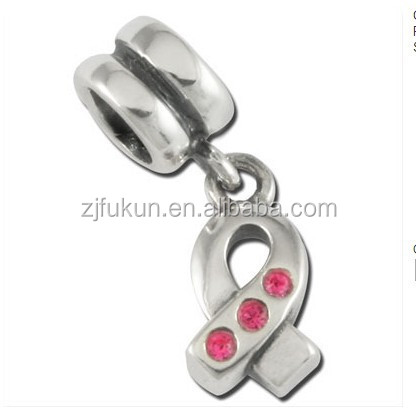 wholesale antique silver plated pink crystals rhinestones breast cancer awareness ribbon beads