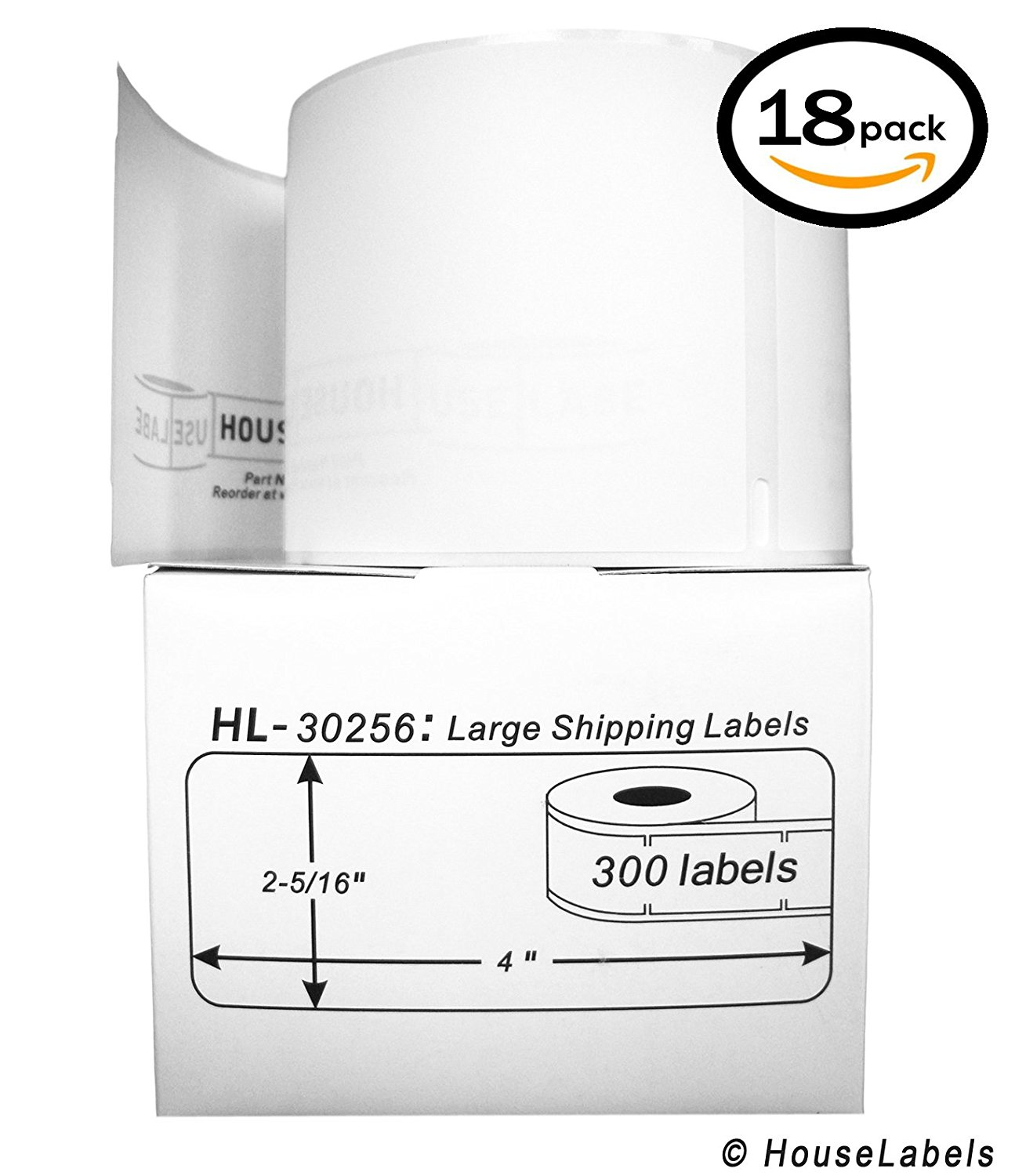"18 Rolls, 300 Labels per Roll of DYMO-Compatible 30256 Large Shipping Labels (2-5/16"" x 4"") -- BPA Free!"