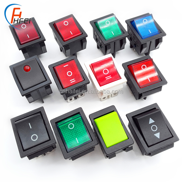 Haifei Large Size Large current 30A 250VAC 1E4 kcd4 t120/55 rocker switch