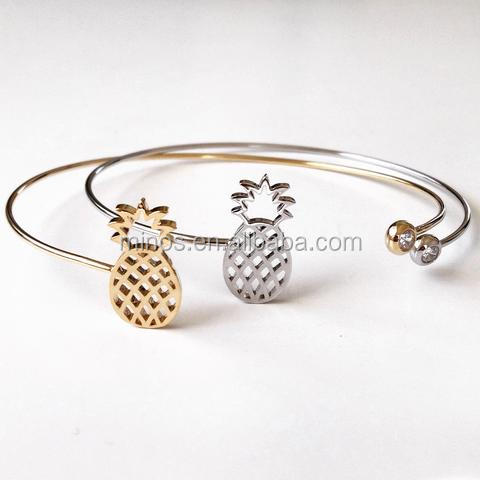 2016 popular jewelry design Awesome Pineapple Bangle cuff bracelet