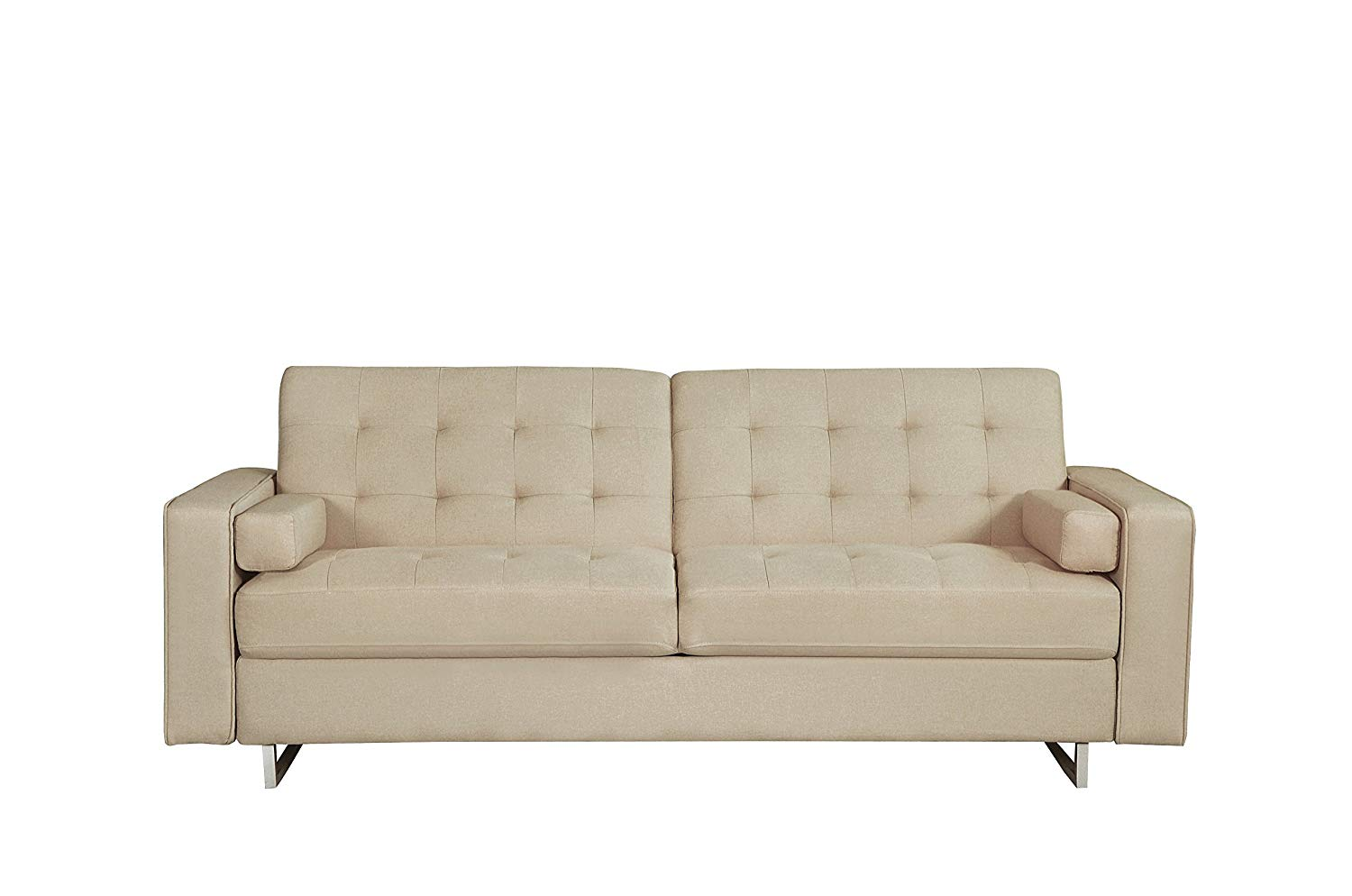 Container Furniture Direct Erickson Collection Modern Reversible Fabric Living Room Sofa/Sofa Bed, Beige