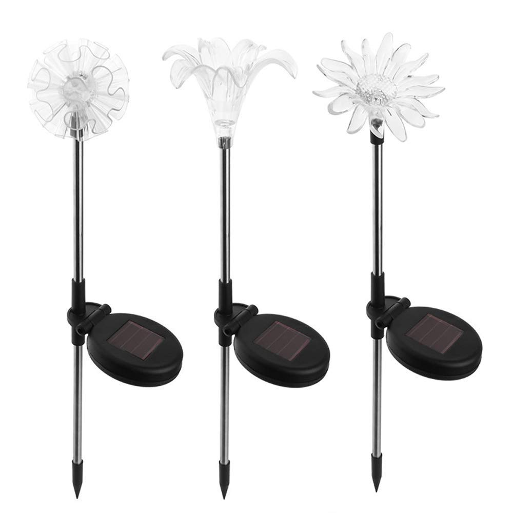 Flower Solar Garden Lights, 7 Color-Changing Solar Powered Outdoor Decorative Stakes Night Lights, Waterproof LED Landscape Lighting for Garden/Yard/Lawn/Patio/Walkway/Driveway/Backyard, 3 Pack