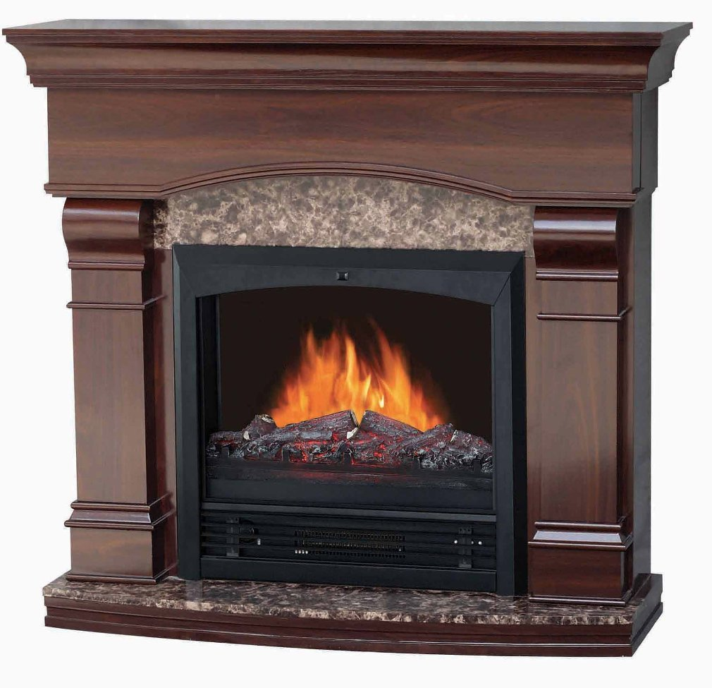 """Electric Fireplace with 47"""" Mantle, Walnut"""