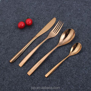 Copper Stainless Steel Silverware 20 Piece Matte Rose Gold Flatware Set for Wedding