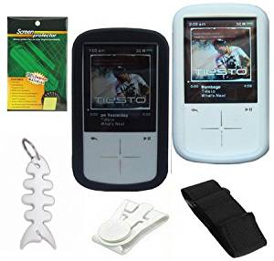 2 Silicone Skin Cases (Black and Clear) + Adjustable Armband + Belt Clip + LCD Screen Protector + Fishbone Style Keychain For Sandisk Sansa Fuze+ Plus 4GB 8GB 16GB MP3 Player