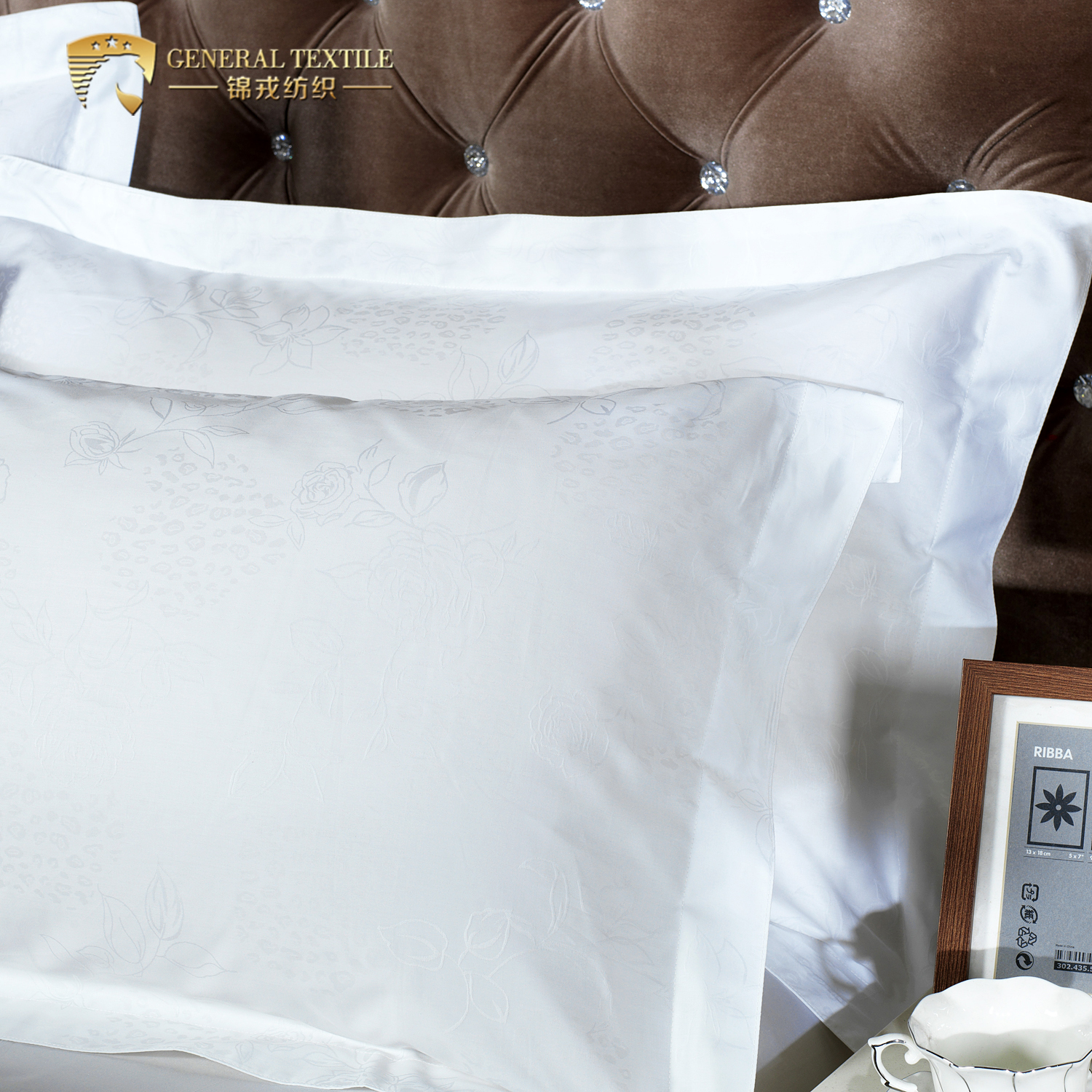 Turkish cotton high quality white jacquard hotel bed sheet