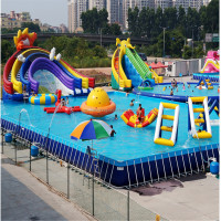Factory Price Large Portable Inflatable PVC Plastic Intex Family Rectangle Intex Metal Steel Frame Swimming Pool for Sale
