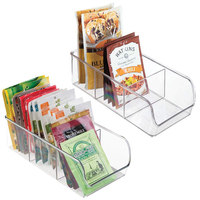 2 Pack Clear Plastic Food Packet Kitchen Storage Organizer Bin Caddy Holds Spice Pouches, Dressing Mixes Cabinets or Countertop