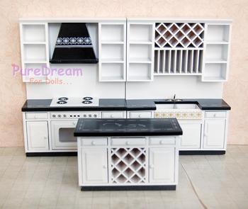 Dollhouse Kitchen Furniture Set 3pcs Miniature Center Iland Sink