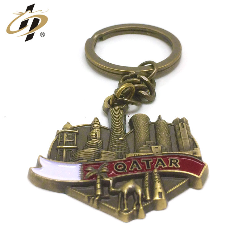 Antique silver metal custom 3D Qatar metal keychain for souvenir gift