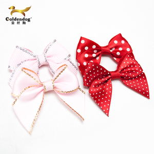 2018 Fashion pre made pink red polka dots satin ribbon bow for bra