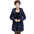 Stylish Women Hooded Quilted Puffer Jacket Black Blue Basic Coat Middle Aged Woman s Cotton Wadded