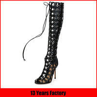 gladiator thigh high women boots/thigh high gladiator sandals/high heel gladiator sandals