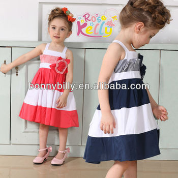 Two Color Pure Cotton Baby Girl Frocks Design