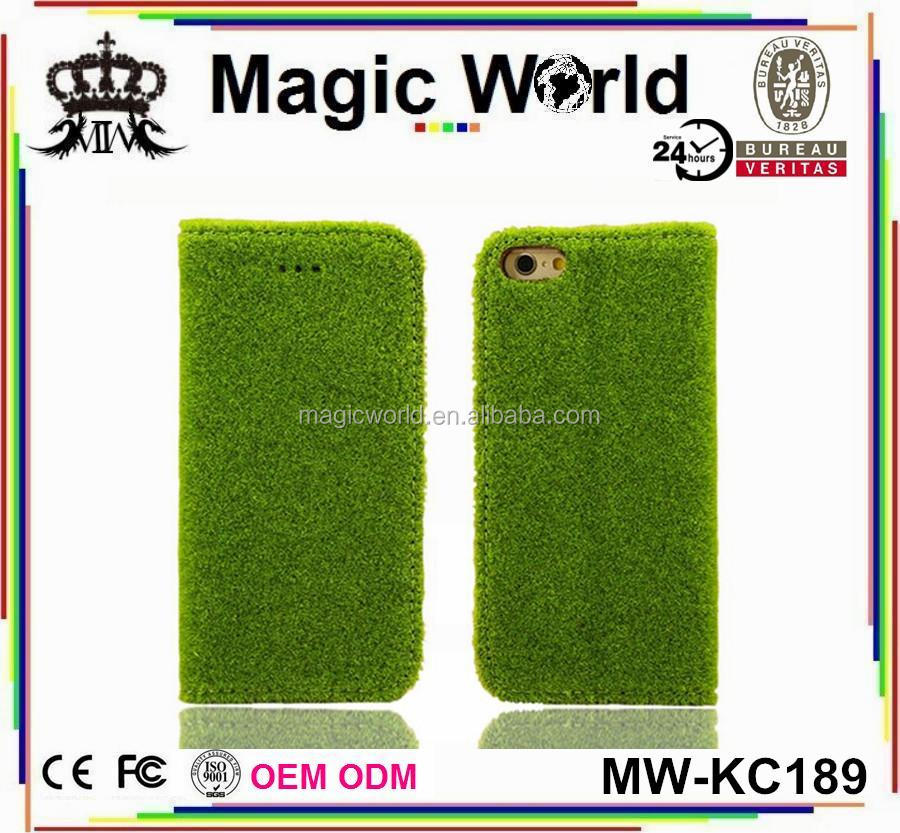 Popular Ceative Designer Green Grass PU Leather Phone Case For iPhone 6 6S