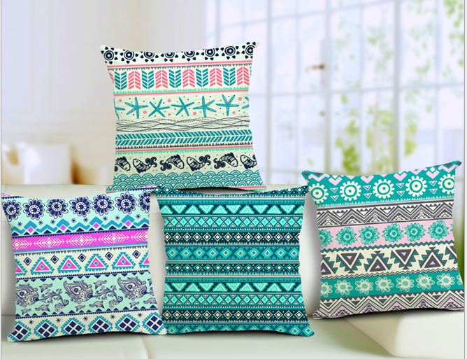 Bohemian stripe cushion covers decorative throw pillows sofa pillowcases home decor vintage cotton linen wave 15pcs.