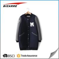 Clothing factory custom sport women long baseball hoodies and jacket