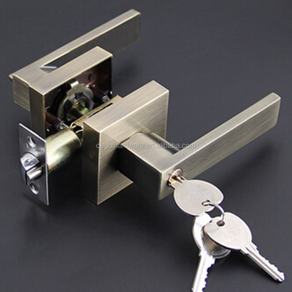 New Modern Antique Brass double swinging square lever lock set