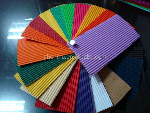 2015 craft colorful embossed corrugated flute paper ,DIY corrugated art paper for kids