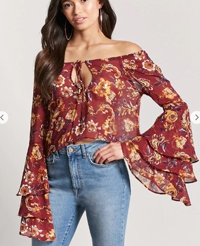 f27219b826a Diva Spring New Design Sexy Women Floral chiffon womens tops blouses 2018  off shoulder long sleeves