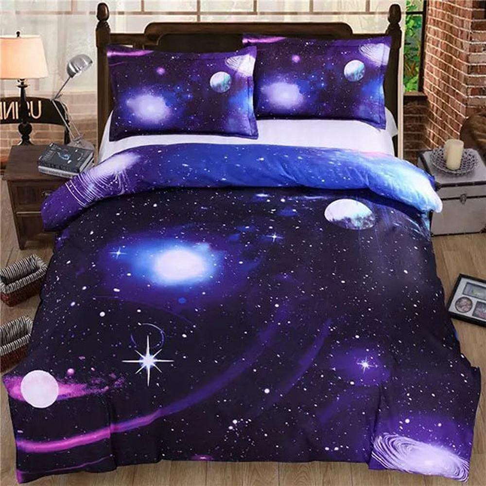 Alicemall Blue Galaxy Bedding Sets Twin XL Polyester 4-Piece Duvet Cover Flat Sheet and 2 Pillow Cases Black Bedding Sets Universe Stars Comforter Cover Sets, No Comforter (Twin XL-11585886)