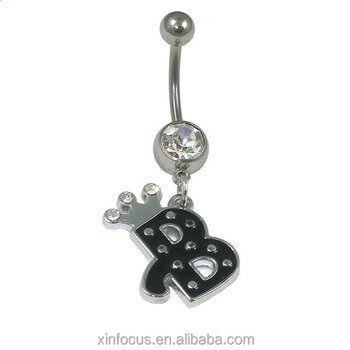 Wholesale Crystal Letter B Shaped Unique Cheap Navel Belly Button Rings Body Piercing Jewelry Buy Dangle Navel Belly Rings Stainless Steel Navel