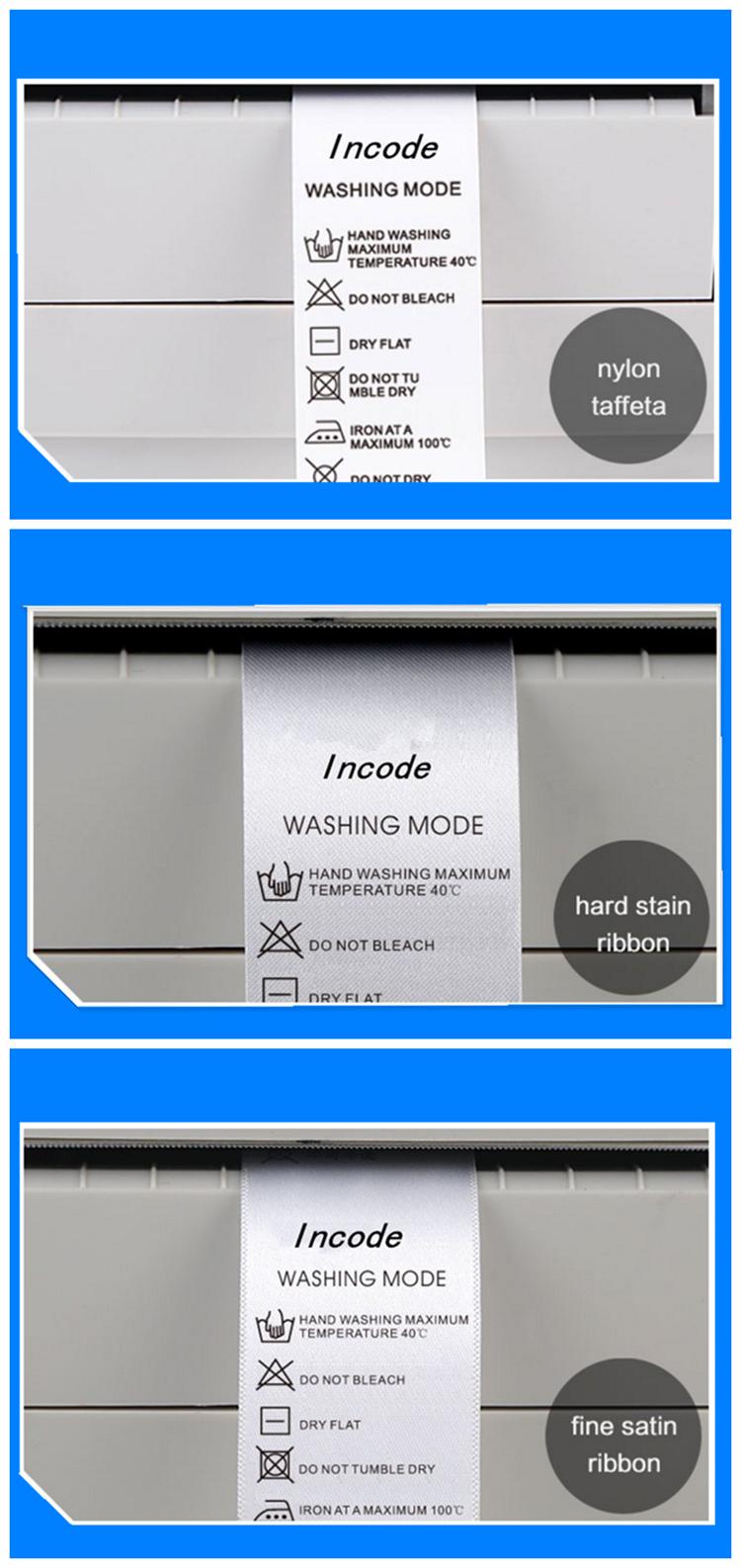 Personnalisé de transfert de chaleur de lavage-ruban de résine lavable imprimé ruban de résine pour satiné/nylon imprimante d'étiquettes