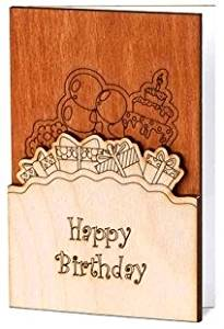 Handmade Sustainable Real Wood Happy Birthday Wishes Greeting Card With Flowers Inside Unique Original Gift Idea