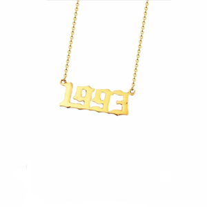 Meaningful creative personalized souvenir year number gold plated pendant necklace