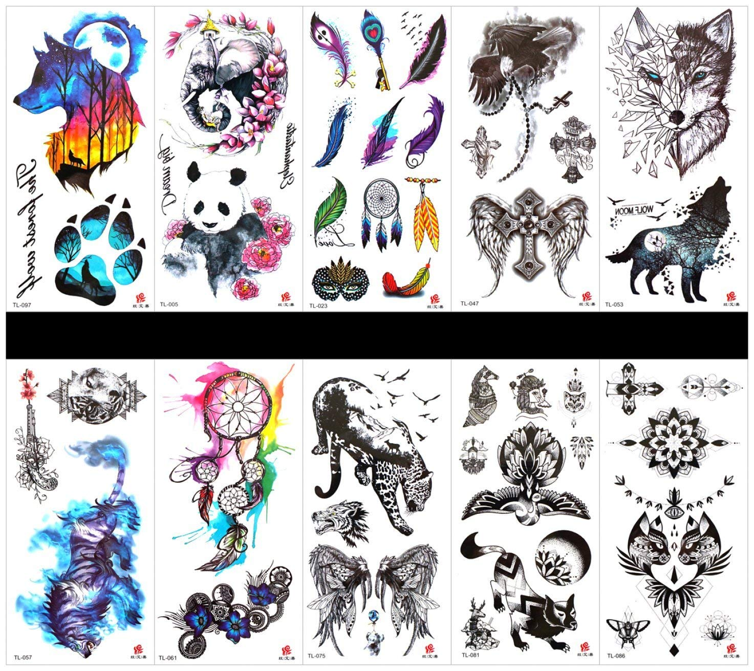 69552b3dbb2ba Get Quotations · SPESTYLE 10pcs tattoo wolf tattoos waterproof and non  toxic real fake tattoos in 1 packages,