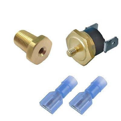 "American Volt Electric Radiator Fan Thermostat Switch 1/8"" 1/4"" 3/8"" 1/2"" Inch NPT Temperature Sensor Thread-in Push Probe (1/8"" NPT, 180'F On - 165'F Off)"