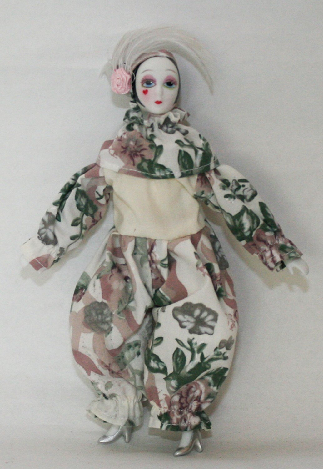 Buy Porcelain Dolls 5 Inches, Pierrot, with Heart on Cheek, Dress