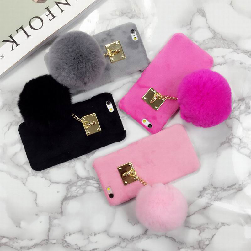 detailed look 2d495 5520a New Fuzzy Candy Color Phone Hard Cover With Fashion Fur Ball Phone Case For  Iphone 7 6 6S 6 Plus 6S Plus 7 Plus Coque Capa