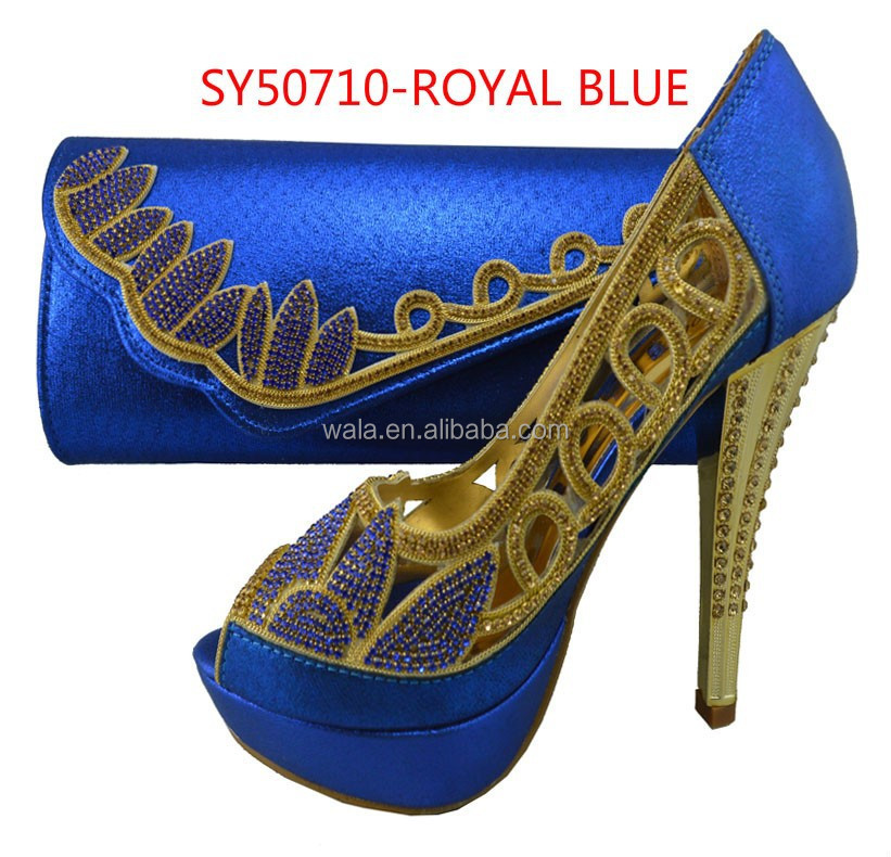 Nigeria Party Wedding Bridal Thin High Heel Wedding Shoes Sy50710 3 Royal  Blue   Buy Fashion Shoes And Bag Set,Cheap High Heel Shoes And  Handbag,Fashion ...