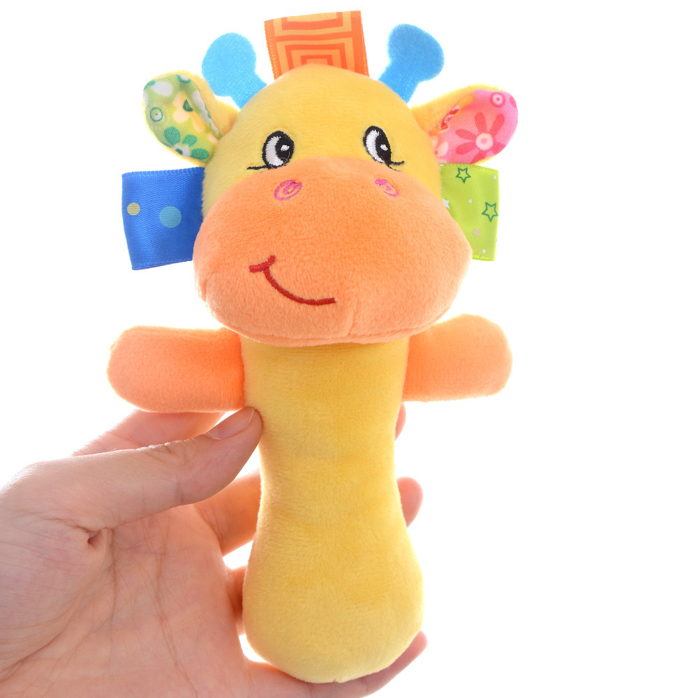 "Yellow Deer Baby Rattles Cartoon Animals Rattles Handbell Infant Kid Early Learning Educational Toys 6*3"" Free Shipping New #LNF"