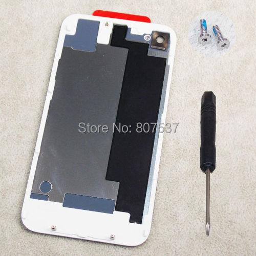 Замена назад задняя крышка для iPhone 4S белый назад аккумулятор стеклянная крышка корпуса чехол двери для iPhone 4S 4GS бесплатный открытый инструменты