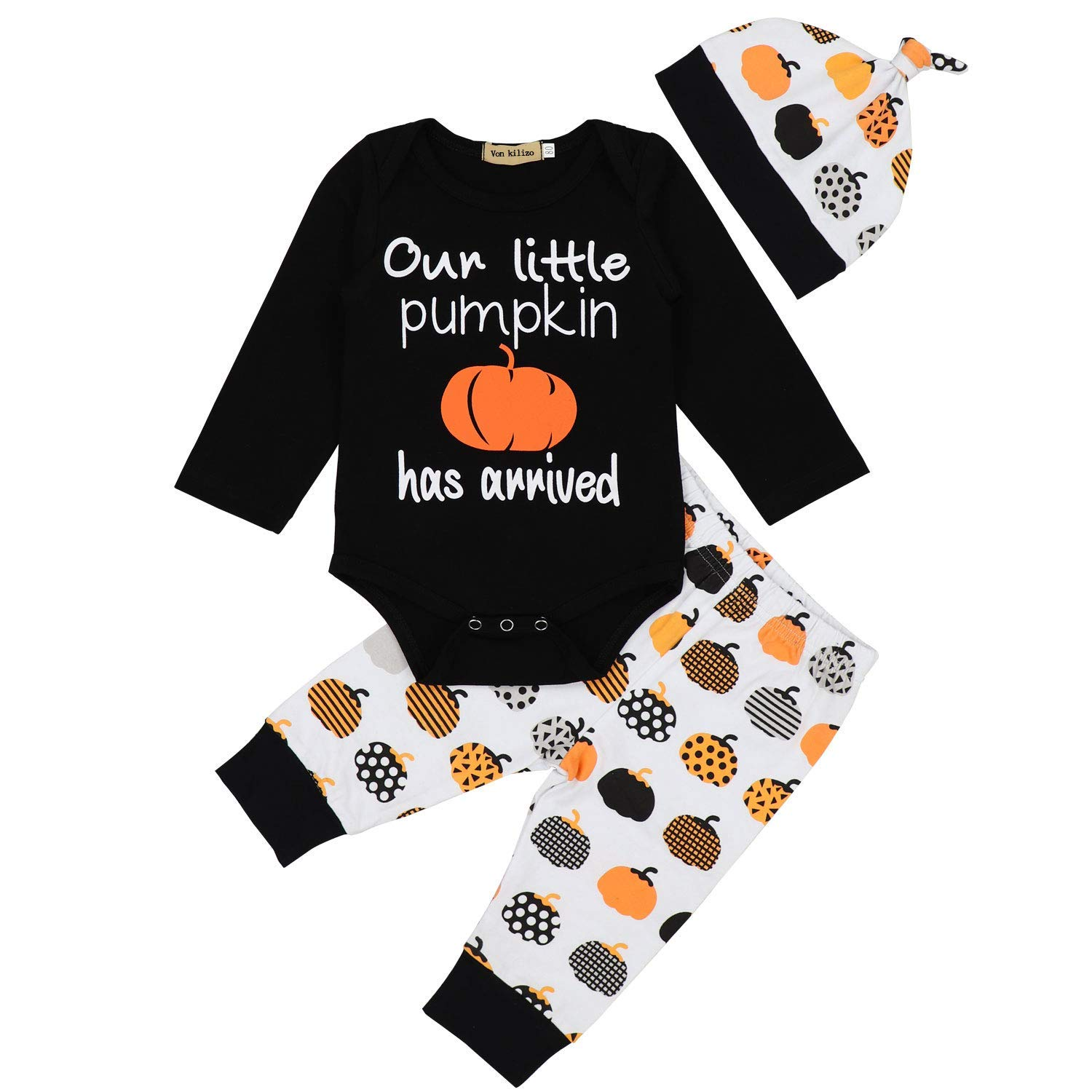 Get Quotations · Baby Boy Girl My First Halloween Outfit Letter Print  Rompers Pumpkin Pants with Hat 3Pcs Clothes 289653d9523c