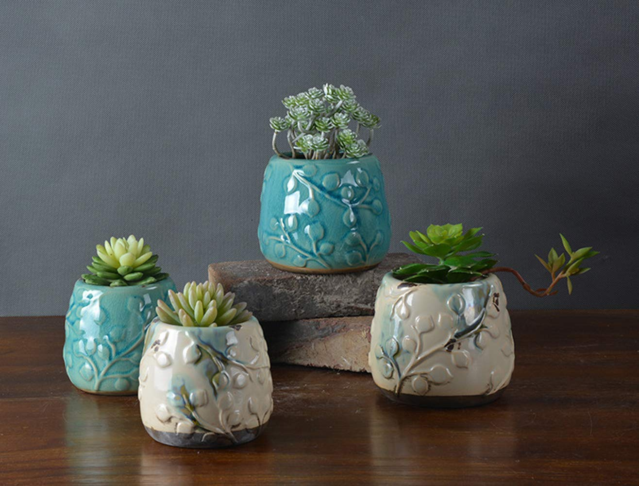 Better-Way Vintage Floral Embossed Succulent Plant Planter Ceramic Flower Container Butterfly Orchid Pot Windowsill Shabby Chic Home Decoration 4 Pack