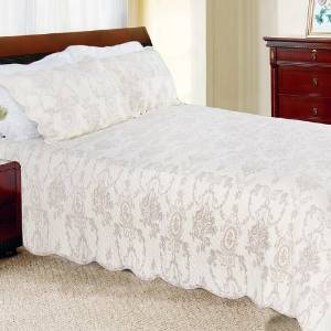 [Serene Night-Ivory] 100% Cotton 3PC Classic Floral Vermicelli-Quilted Quilt Set (Full/Queen Size)