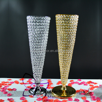 30 Inch Trumpet Vase Wedding Centerpiece Flower Stand Crystal Bead
