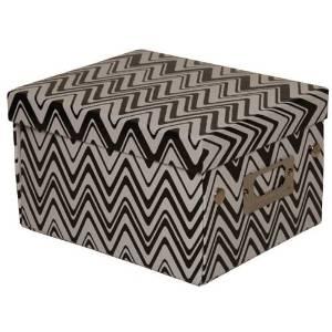 JAM Paper Decorative Box - 6 3/4 x 8 5/8 x 5 1/8 - Zig Zag Print Black & White - Sold Individually